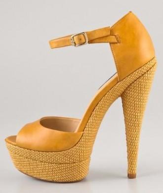Rachel Zoe yellow Bardot sandals