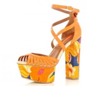 orange floral print strappy sandals