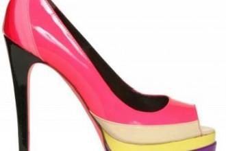 colourblock peep toe shoes