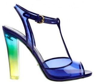 Sergio Rossi blue plexiglass sandals