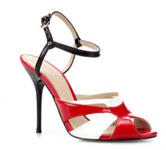 Zara red black and white sandals