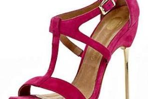 bright pink metal heeled sandals
