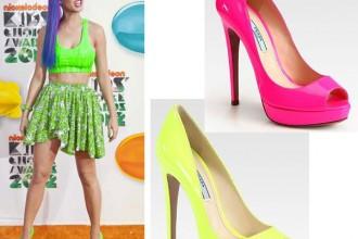 Katy Perry in neon green Prada peep toes