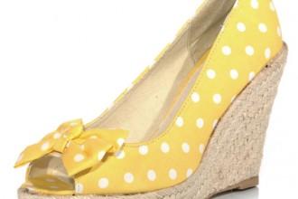 yellow polka dot wedges