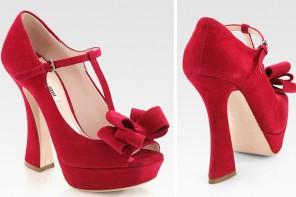 Miu Miu red suede shoes