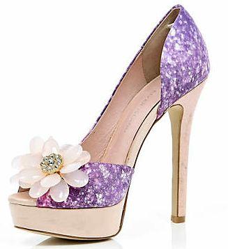 River Island purple peep toes