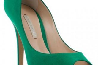 Nicholas Kirkwood green suede peep toes