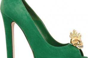Alexander McQueen green skull embellished peep toes