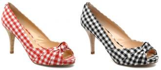 gingham peep toe shoes