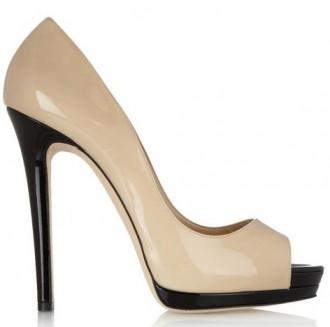 Oscar de la Renta nude peep toe shoes