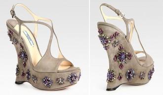 Prada jewelled wedge suede sandals