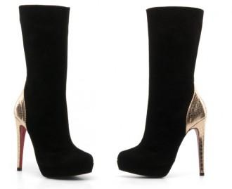 Buffalo 'Baltha' three-quarter length boots with gold snakeskin heel