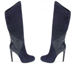 Versus by Versace high heeled blue suede knee boots
