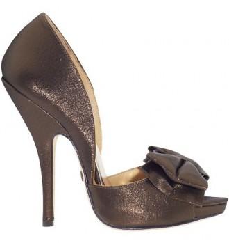 Badgley Mischka bronze 'Mable' bow peep toes