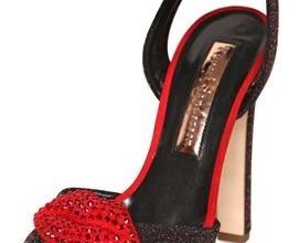 Rupert Sanderson 130mm glitter suede lips sandals
