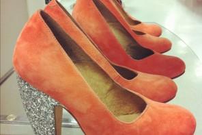 orange glitter heel shoes
