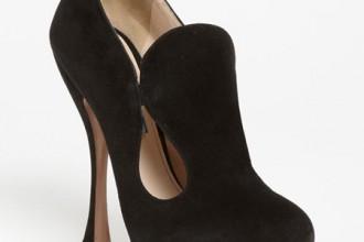 Prada black cutout suede shoe boots