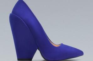 Zara blue wedge court shoes