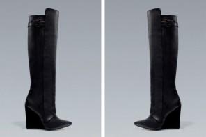 Zara black wedge knee boots