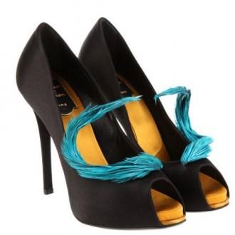Roger Vivier feather-trimmed black satin peep toe shoes
