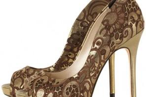 Karen Millen bronze lazer-cut peep toe shoes