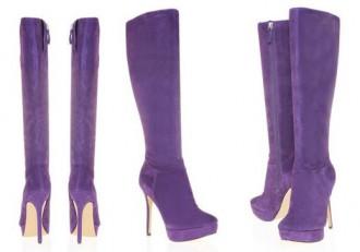 purple suede knee boots