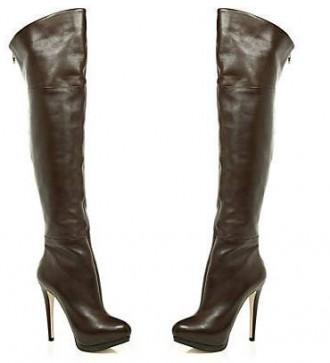 Dark brown over-the-knee boots