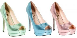 metallic peep toe shoes