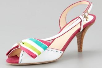 O Jour Asymmetric Bow Slingback Sandals