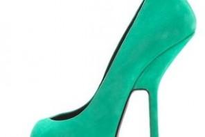 Giuseppe Zanotti green suede high heeled peep toes