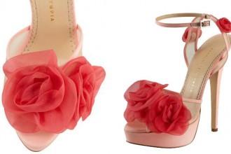 Charlotte Olympia Fleur Ankle-Wrap Platform Sandals