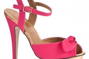 fuschsia bow platform sandals