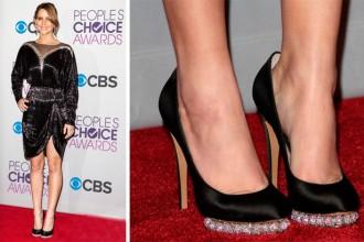 Jennifer Lawrence in Nicholas Kirkwood satin pumps
