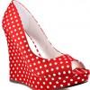 red polka dot wedge