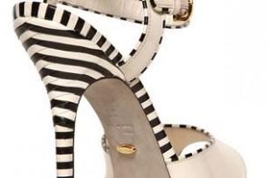 Stripe shoes: Sergio Rossi 130mm Optikala patent leather sandals