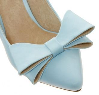 Mid Heel Shoes: Faith Crobon Mid Heel Bow Blue Court Shoes