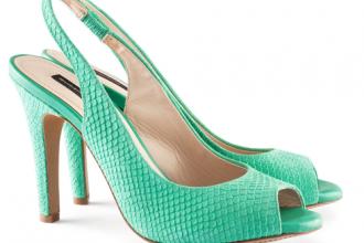 high heeled green suede slingbacks with peep toe