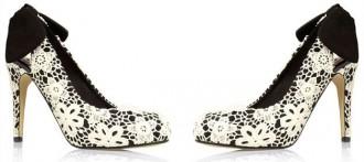 Next lace bow-back court shoes