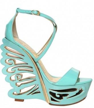 turquoise shoe with elaborate wedge heel