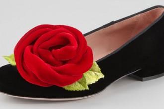 Valentino smoking slippers with rose embellishment