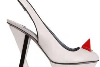 White geometric slingback shoes