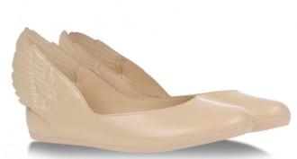 winged heel ballet flats