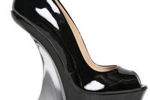 black patent wedge shoe with plexiglass heel