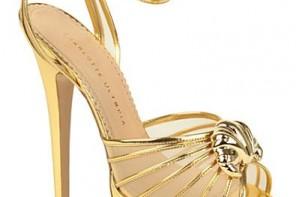 gold platform sandals with croissant detail