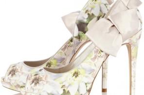 Karen Millen floral peep toes with satin bows