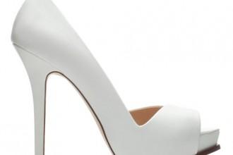 Zara white asymmetric peep toes