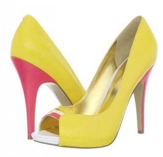 yellow peep toe shoes with pink heel