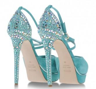 turquoise high heels with jewel embellishment