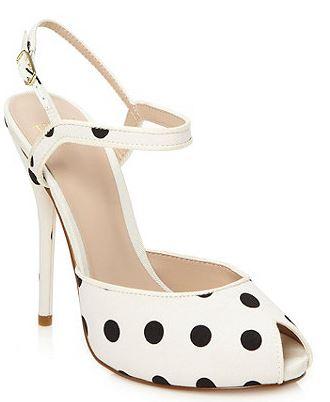white peep toe polka dot high heel sandals