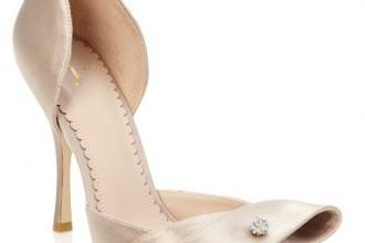 gold satin peep toes